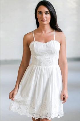 White Eyelet Dress, Cute White Sundress, White Summer Dress Online, Boutique Dresses