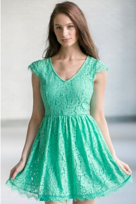 Green Capsleeve Lace A-Line Dress, Cute Green Online Boutique Lace Dress, Lace Party Dress