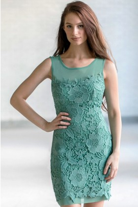 Sage Green Lace Sheath Dress, Cute Sage Green Party Dress, Sage Green Lace Bridesmaid Dress