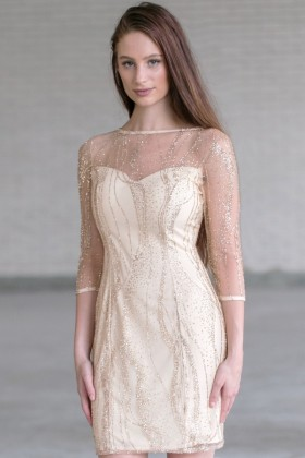 Gold Glitter Holiday New Years Eve Dress