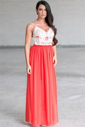 Lotus Embroidered Open Back Maxi Dress in Coral Red