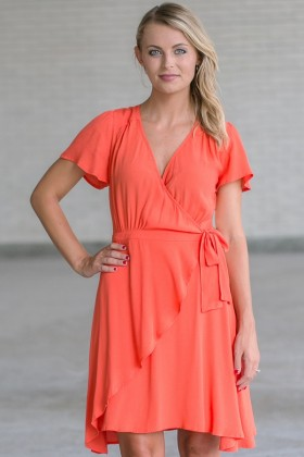 Island Fever Wrap Dress in Orange
