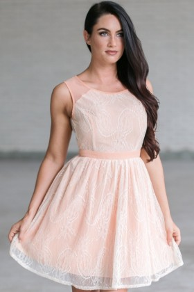 Georgia Peach Lace A-line Dress