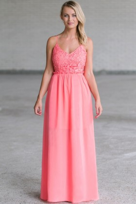 Prettiest Pixie Crochet Lace Open Back Maxi Dress in Pink