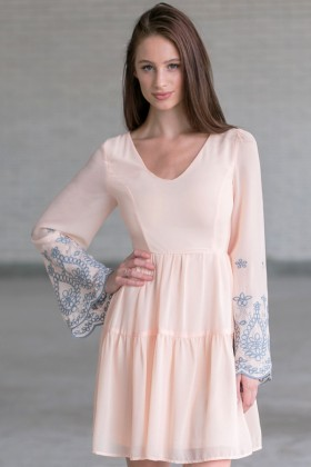 Angelic Hippie Embroidered Bell Sleeve Dress in Baby Peach
