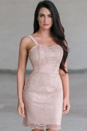 Hydrangea Garden Crochet Lace Dress in Beige