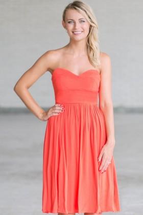 Rosalee Strapless Midi Dress in Orange Coral