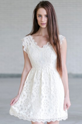 Cream Lace A-Line Dress, Cute Cream Dress, Cream Bridal Shower Dress