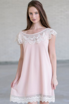 Blush Pink and Ivory Lace Dress, Blush Pink Flowy Dress, Cute Summer Dress