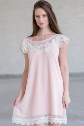 Blush Pink and Ivory Lace Dress, Blush Pink Flowy Dress, Cute Summer Dress