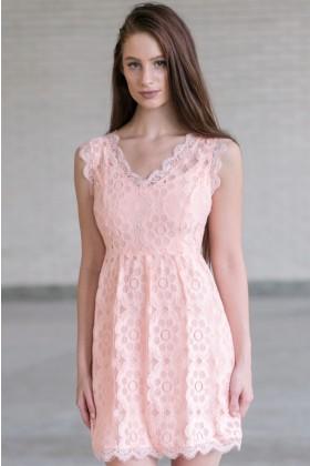 Cute Pink Dress, Pink Lace A-Line Dress, Pink Bridesmaid Dress Online