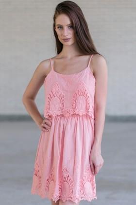 Cute Pink Summer Dress Online, Pink Embroidered Dress, Pink Party Dress