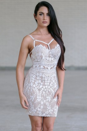 Ivory Lace Bodycon Dress, Cute Ivory Cocktail Dress Online