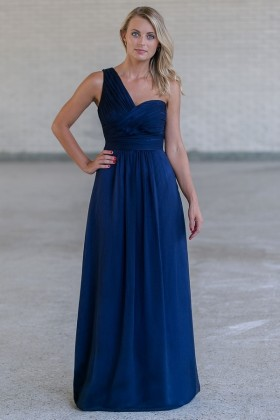 Navy Blue One Shoulder Maxi Formal Bridesmaid Dress