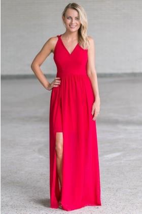 Red Formal Maxi Bridesmaid Prom Dress