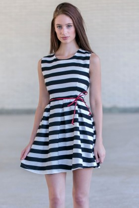 Cute Black and White Stripe A-Line Dress, Summer Boutique Dress