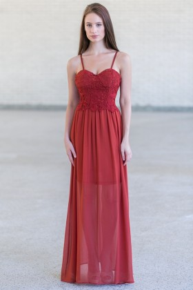 Rust Red Lace Maxi Dress, Cute Summer Maxi Dress Online