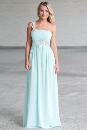 Cute Mint Maxi Bridesmaid Dress Online, Mint Formal Prom Dress