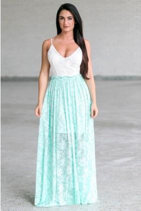 Cute Mint Green Open Back Maxi Dress, Summer Juniors Maxi Dress Online