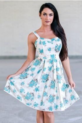 Jade Blue Floral Print Summer Sundress, Cute Juniors A-line Dress