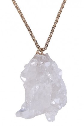 Crystal and Gold Pendant Necklace, Boho Hippie Jewelry, Cute Crystal Pendant