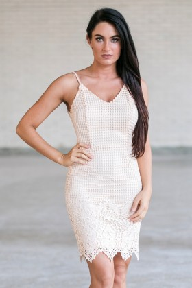 Cute Peach Lace Sheath Dress, Cute Summer Dress