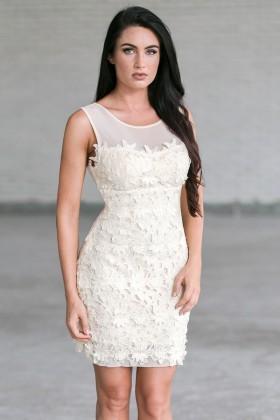 Ivory Lace Sheath Dress, Cute Rehearsal Dinner Dress
