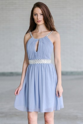 Light Blue Embellished Party Homecoming Dress