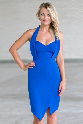 Bright Royal Blue Halter Dress, Cute Juniors Cocktail Dress Online