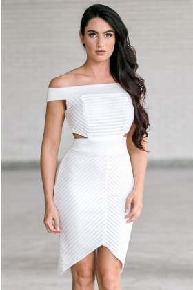 Off white off shoulder cutout pencil dress, Cute off white juniors dress