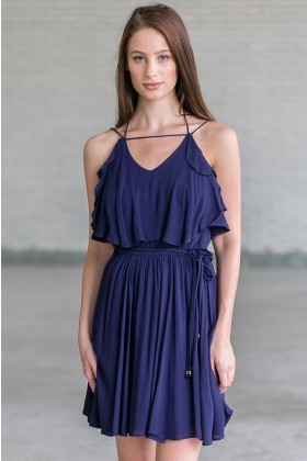 Navy Flutter Top Summer Dress, Cute Juniors Dress Online