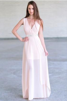 Pink Peach Maxi Dress, Embellished Maxi Bridesmaid Dress