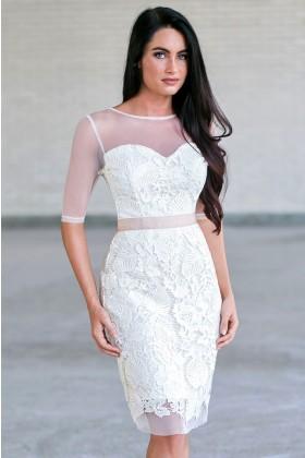 Ivory lace sheath dress, Cute rehearsal dinner dress, bridal shower dress