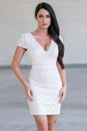 Beige Capsleeve Dress, Cute Beige Sheath Dress