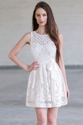 Beige Lace A-Line Dress, Cute Beige Rehearsal Dinner or Bridal Shower Dress