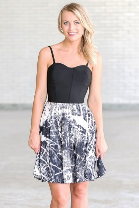 Ink Blot Test Printed Black and Ivory Dress