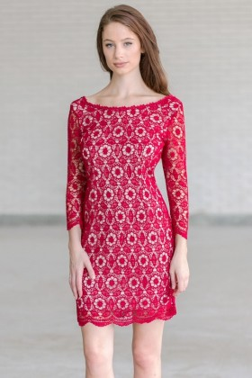 Burgundy Red Lace Holiday Bridesmaid Dress