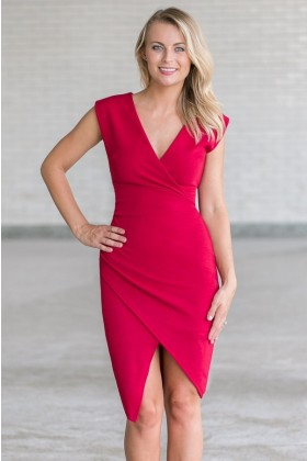 Cute Wine Red Crossover Cocktail Party Dress