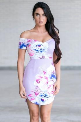 Luscious Lilac Capsleeve Floral Print Dress