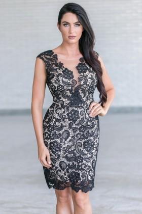 Black Lace Cocktail Party Dress