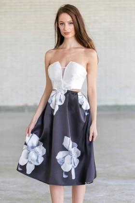 Rose Romance Black and Ivory Cutout Midi Dress