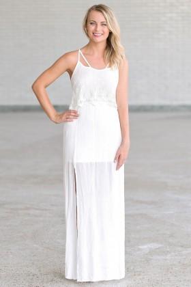 Angel Hippie Ivory Flutter Top Maxi Dress