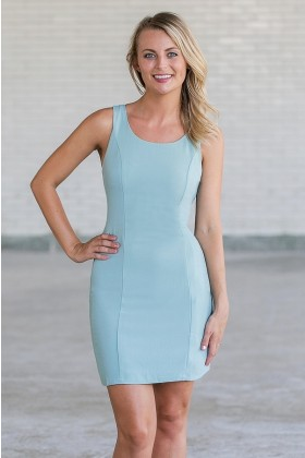Sage Green Bow Back Pencil Dress