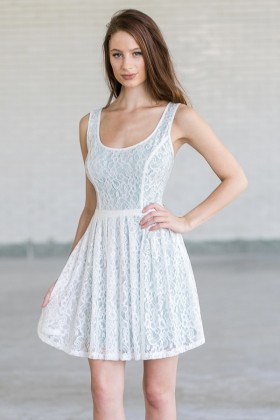 Green and White Lace Dress
