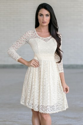 7aac5cde6d4 Cream Lace Rehearsal Dinner Dress