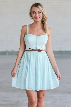 Cute Mint Green Belted Summer Dress