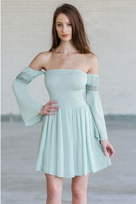 Mint Green Off The Shoulder Boho Fall Festival Dress