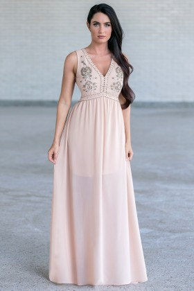 Nude Beige Beaded Embellished Prom Maxi Formal Bridesmaid Dress