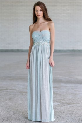 Gorgeous Pale Blue Maxi Formal Prom Dress