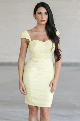 Bright For You Textured Capsleeve Pencil Dress in Yellow
